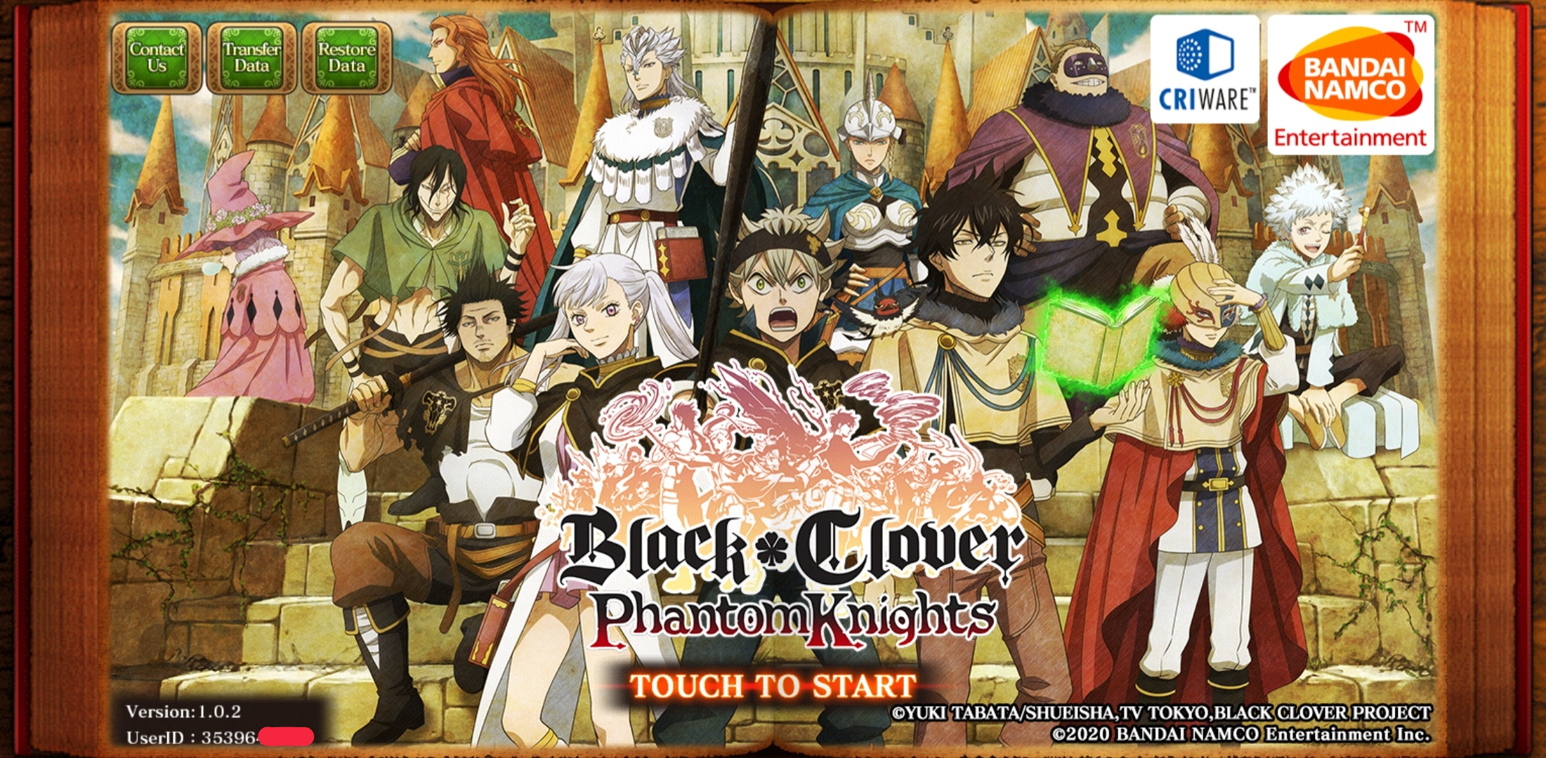 Black Clover Phantom Knight Title Screen